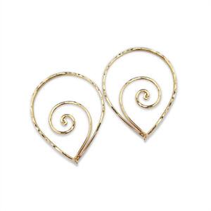 1-1/2 Inch Gold Filled Spiral Teardrop Hoop Earrings. Handmade. Hypoallergenic.