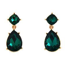 Faux Emerald Green Rhinestone Dangle Earrings