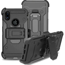 Shockproof Armor Silicone Belt Clip Holster Stand Case For Apple iPhone X XS 8P