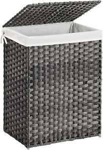 Wäschekorb handgeflochten, 90 L, Wäschesammler aus synthetischem Rattan