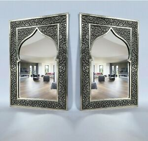 2 Mirror Handmade glass Carved metal traditional wall vintage moroccan