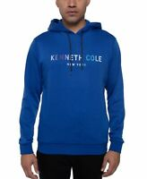 Kenneth Cole Mens Hoodie Blue Size XL Iridescent Logo Fleece-Lined $79 050