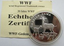 Medaille 30 Jahre years WWF, Damagazelle, Tiere, Silber, PP