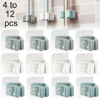 4 to 12 pcs Mop Broom Holder Gripper Hangers Wall Mounted Self Adhesive Mop Rack