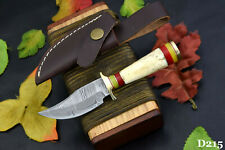 Custom Damascus Steel Skinning Hunting Knife Handmade,Stag Horn Handle (D215)