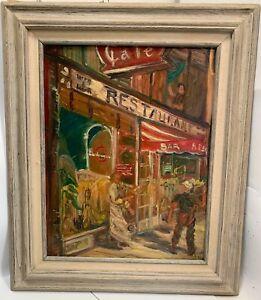 1959  WPA  Ashcan Oil Painting on Canvas-Restaurant Bar-NYC?.....RYAN