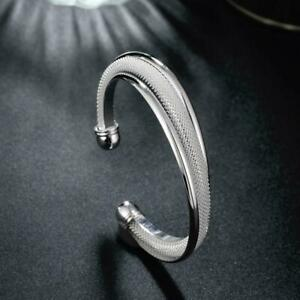 Bracelet FEMME Jonc Argent Maille Anneaux Chaîne Gourmette Cadeau Bangle Strap