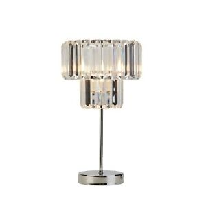 Silver Chrome - Clear Acrylic 7W LED 2 Tier Table Lamp H37.5cm RRP £64