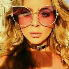 Chic Oversized Cat Eye Sunglasses Women Flat Mirrored Lens Metal Frame Fashion
