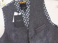 BNWT Ted Baker Charcoal Grey Jonwai Textured Pattern Wool Waistcoat size 2 S