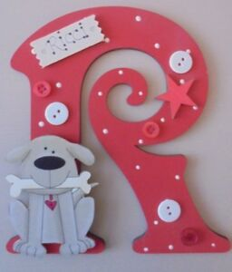 Dog & Bone Personalised *ANY LETTER & NAME* child kids Room Door Sign Plaque RED