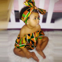 Toddler Baby Girls African Print Shoulder Romper+Hair Band Bodysuits Clothes FS.