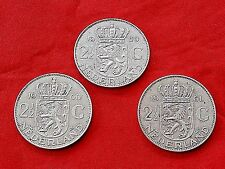 Lot of three -3- silver coins of 2 1/2 gulden Nederlands 1959-60-61, 72% SILVER.