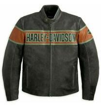 Harley Davidson Victory Lane Men's Genuine Black Cowhide Leather Jacket Free PP