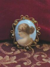 Gold Filled Filigree Brooch,Crystal Trim Victorian Hand Painted Porcelain Cameo