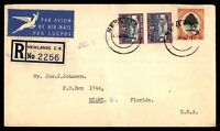SOUTH AFRICA NEWLANDS  JUNE 27 1951 REGISTERED AIR MAIL COVER BLOCK OF 6 TO MIAM
