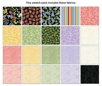 """A WILDFLOWER MEADOW Pre-Cut Charm Pack 5"""" Squares Cotton Quilting Fabric Benarte"""