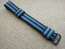 New Geckota Zuludiver 18mm Black & Grey Nylon Divers NATO Watch Strap