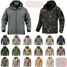 Waterproof Mens Tactical Soft Shell Jacket Coats Army Windbreaker Outdoor Hooded