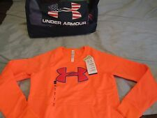 "NEW Womens UNDER ARMOUR Orange ""Storm"" Sweatshirt FLUFFY BIG LOGO Sm FREE SHIP!"