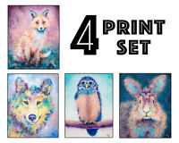 Woodland Animal Art Print Set of 4 - Wolf, Bunny Rabbit, Fox, Owl - 8x10 inches