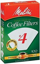Melitta Super Premium #4 Cone Paper Coffee Filters White, 100 Count