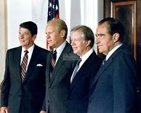 RONALD REAGAN w/ GERALD FORD, JIMMY CARTER AND RICHARD NIXON  8X10 PHOTO (AZ997)