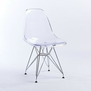Retro Transparent Clear Modern Ghost Eiffel Dining Chair Office with Chrome Legs