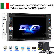 "6.2"" AUTORADIO STEREO RADIO LETTORE MP5 MP3 2 DIN DVD CD BLUETOOTH TELECAMERA"