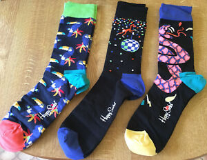 Happy Socks 3 Pairs Gift Boxed Adult Socks Size 7-11 Snake/Toucan/Monkey NEW