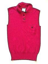 CHANEL fushia sleeveless silk knit pique polo colored top CC logo buttons 38