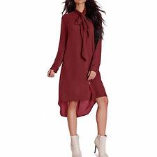 Womens Summer Long Sleeve T-shirt Loose Casual Long Tops Blouse Mini Shirt Dress