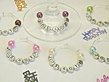 1 PERSONALISED PEARL WINE GLASS CHARM RING Wedding BIRTHDAY Party PLACE SETTING