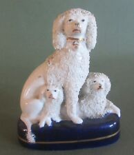 early Staffordshire Dogs Figure 1860 group poodle  caniche chien faience anglais