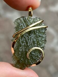 14.73ct Moldavite Natural Green Pendant in Forged 14k Yellow Gold Total Weight