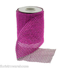 Cerise Pink Diamante Sparkle Ribbon 12cm (5 inches) wide on a 4.5m (5yd) roll