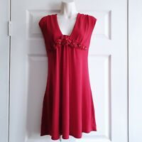Apricot Medium Red Knitted Top Flower Neckline Detail Party Festive Flattering