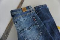 REPLAY Suzanne Damen Jeans slim skinny stretch Hose W24 L28 destroyed blau ad16
