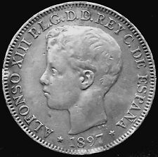1897 PHILIPPINES  S.G. - V. ALFONSO XIII UN PESO SILVER COIN