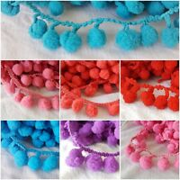 2.5cm- 1 metre Gorgeous fluffy pompom fringe lace trim edging for crafts decor