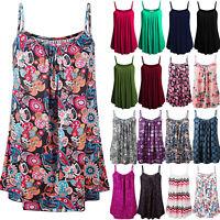 Women Sleeveless Strap Causal Loose Summer Beach Blouse Shirt Tank Vest Top Boho