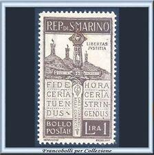 1923 San Marino Pro Volontari L. 1 bruno n. 97  Centrato Nuovo Integro **