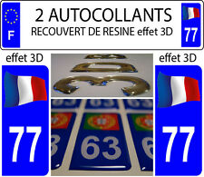 2 stickers plaque immatriculation auto DOMING 3D RESINE FRANCE FLOTANT DEPA 77