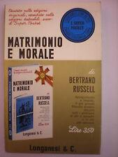 FILOSOFIA-LONGANESI-RUSSEL BERTRAND:MATRIMONIO E MORALE