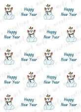 20 NAIL DECALS * HAPPY NEW YEAR with FOLKSY SNOWMAN*  WATER SLIDE NAIL DECAL