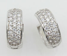 14K White Gold 6mm Thick 28 Stone CZ Round Polished Hoop Huggies Earrings