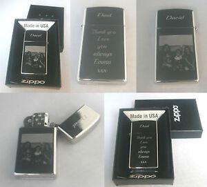 Personalised zippo lighter Slim photo text name engraved gift birthday keepsake