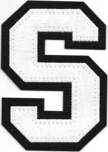 """4 """" Grand Blanc Noir Bloc Letterman's Lettre S Feutre Patch"""