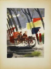LA MOTOCYCLETTE LITHOGRAPHIE POCHOIR ORIGINAL UZELAC 1932 JOIES DU SPORT Moto 42