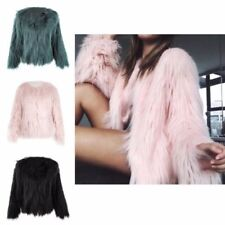 Faux Fur Shaggy Coats & Jackets without Fastening for Women